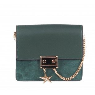 Дамска малка чанта от естествена кожа BE ME зелена