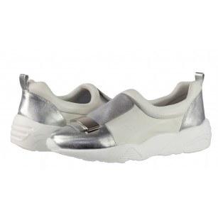 Дамски спортни обувки без връзки естествена кожа BE ME бели/сребристи