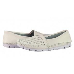 Дамски обувки от естествена кожа BE ME бели