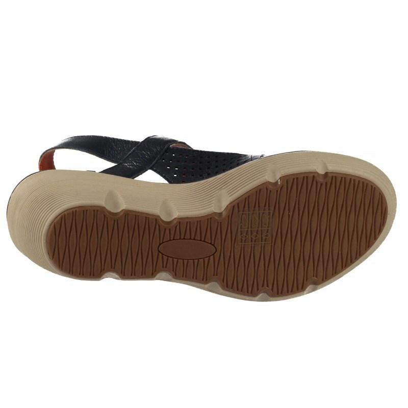 Дамски сандали на платформа естествена кожа BE ME сини