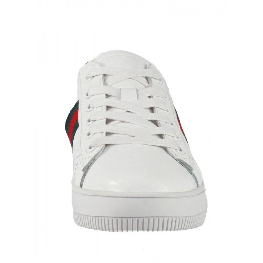 881ac2ec803 ✓ Дамски бели кецове от естествена кожа BE ME бели/червени — Компас