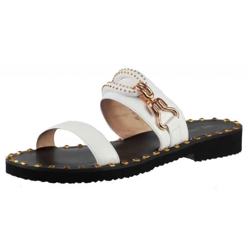 Елегантни дамски чехли от естествена кожа BE ME бели/черни