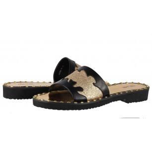 Елегантни дамски чехли от естествена кожа BE ME черни/златисти