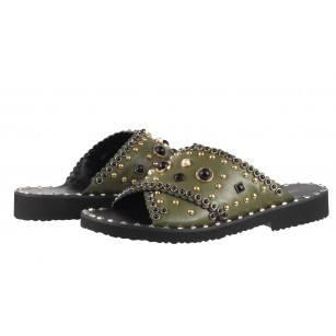 Дамски чехли от естествена кожа BE ME зелени с перли и капси