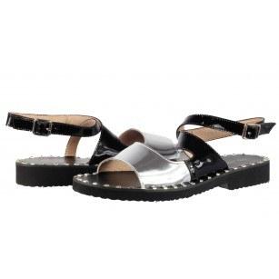 Дамски сандали от естествена кожа BE ME черни/сребристи