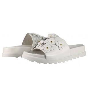 Дамски анатомични чехли от естествена кожа BE ME бели