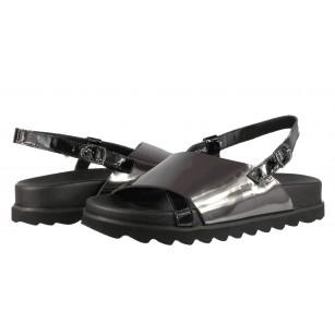 Дамски анатомични сандали от естествена кожа BE ME черни/сребристи