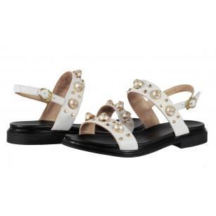 Дамски равни сандали от естествена кожа BE ME бели/черни Pearl