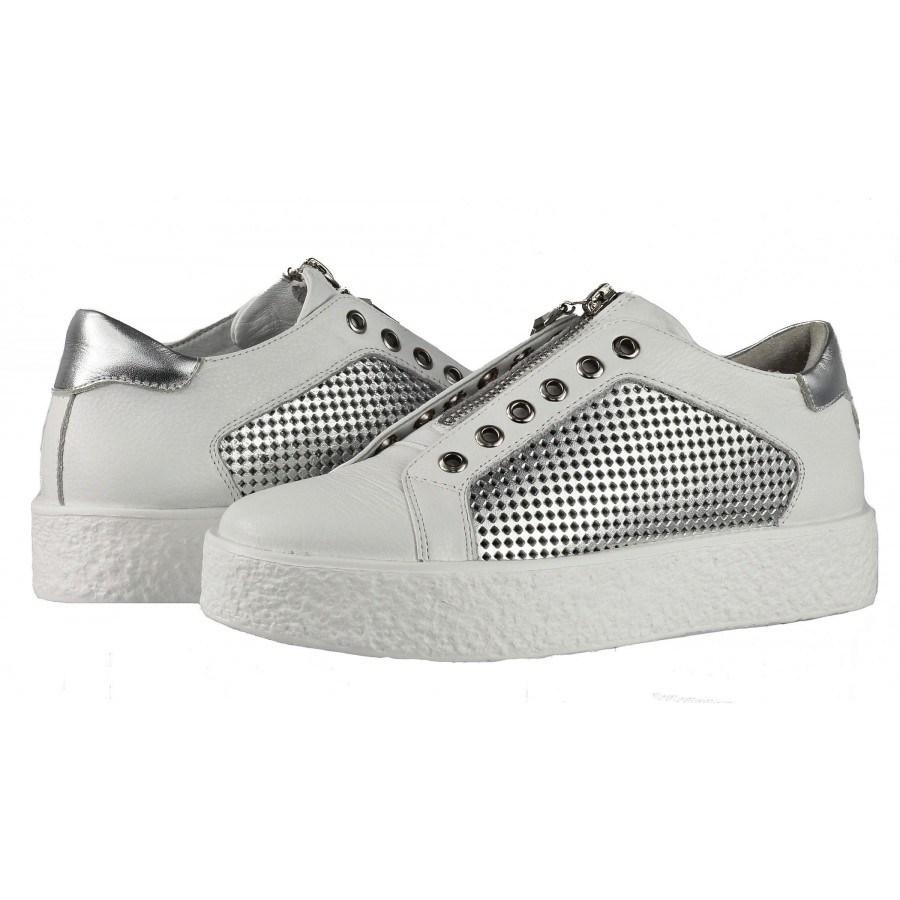 9d7da68658d Дамски спортни обувки от естествена кожа BE ME бели/сребристи