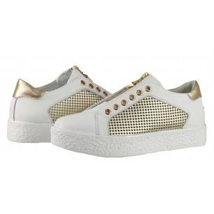 Дамски спортни обувки от естествена кожа BE ME бели/златисти