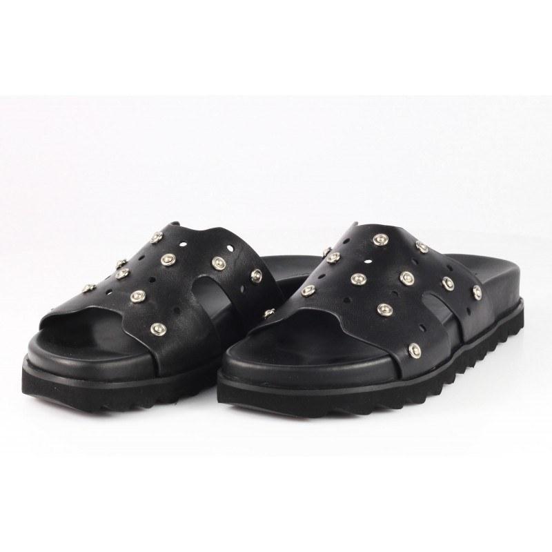 Дамски анатомични чехли от естествена кожа BE ME черни