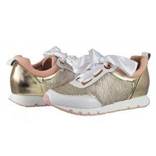 Дамски спортни обувки от естествена кожа BE ME бели/златисти с пайети