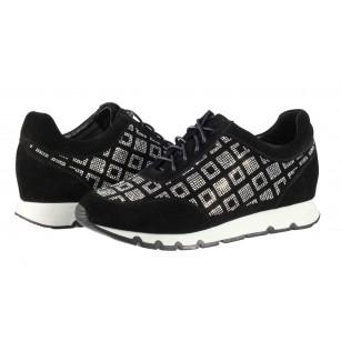 Дамски спортни обувки от естествена кожа BE ME черни с камъни