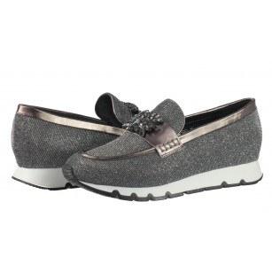 Дамски спортни обувки на платформа BE ME тъмно/сребристи с камъни