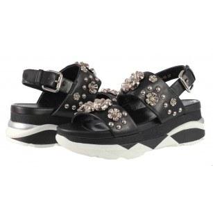 Дамски сандали от естествена кожа на платформа BE ME черни/сребристи