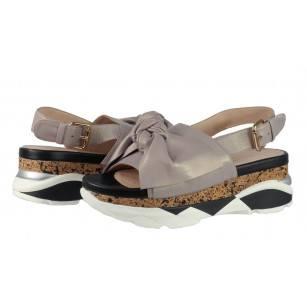 Дамски сандали от естествена кожа на платформа BE ME сиви