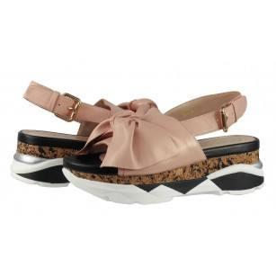 Дамски сандали от естествена кожа на платформа BE ME розови