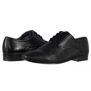Мъжки кожени обувки с връзки Bugatti® Mattia черни