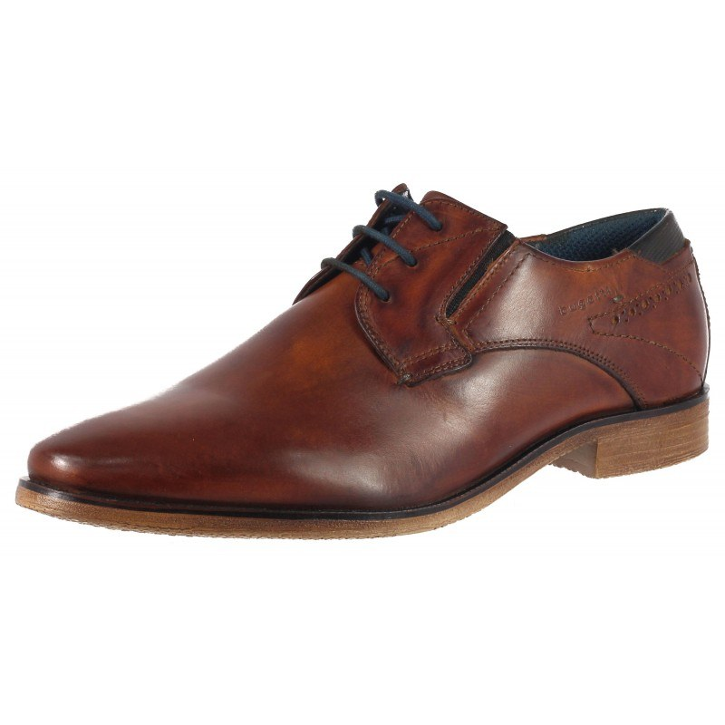 Елегантни мъжки обувки от естествена кожа Bugatti коняк Nicolo ExKo