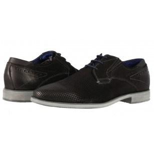 Мъжки кожени обувки с връзки Bugatti® Nicolo ExKa черни