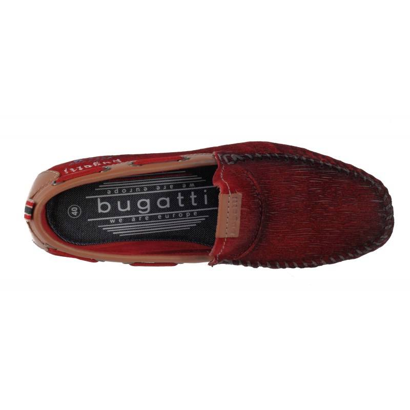 Мъжки мокасини от естествена кожа Bugatti Cherokee тъмно червени