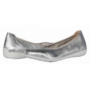 Дамски равни обувки от естествена еленска кожа Caprice сребристи