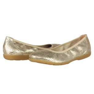 Дамски равни обувки пантофки от естествена кожа Caprice златисти