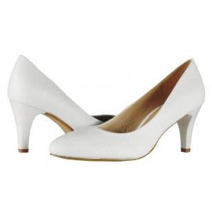 Дамски елегантни обувки на ток Caprice бели естествена кожа PREMIUM