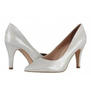 Елегантни дамски обувки на ток Caprice бели лачени