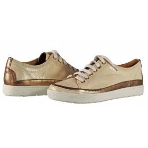 Дамски спортни обувки от естествена кожа Caprice кремави