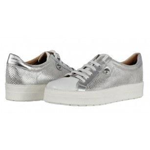 Дамски спортни обувки от естествена кожа Caprice сребристи