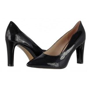 Дамски елегантни обувки на висок ток Caprice естествена кожа черни лачени