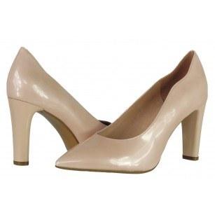 Дамски елегантни обувки на висок ток Caprice естествена кожа розови лачени