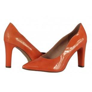 Дамски елегантни обувки на висок ток Caprice естествена кожа праскова лачени