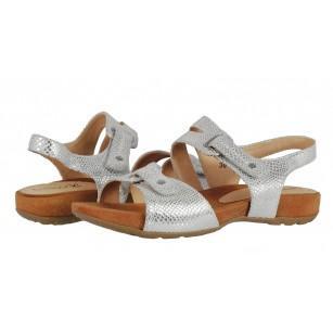 Дамски анатомични сандали естествена кожа Caprice сребристи