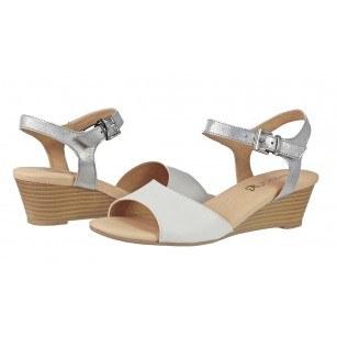 Дамски сандали на платформа от естествена кожа Caprice бели/сребристи