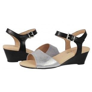 Дамски сандали на платформа от естествена кожа Caprice черни/сребристи