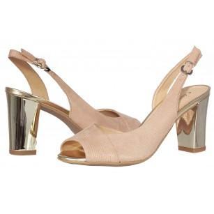 Дамски сандали на ток от естествена кожа Caprice розови/металик