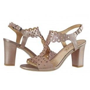 Елегантни дамски сандали от естествена кожа на ток Caprice розови/металик