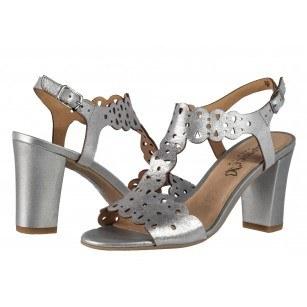 Елегантни дамски сандали от естествена кожа на ток Caprice сребристи
