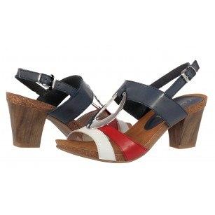 Елегантни дамски сандали от естествена кожа на ток Caprice комби
