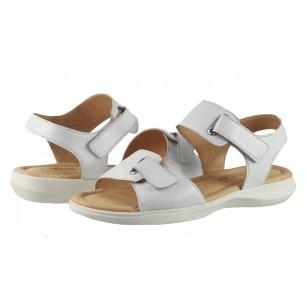 Дамски анатомични сандали от естествена кожа Caprice бели