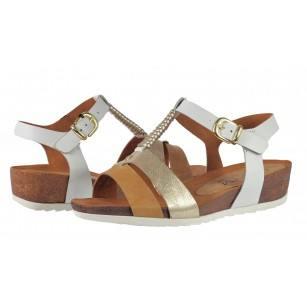 Дамски сандали на платформа естествена кожа Caprice бели/кафяви
