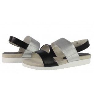Дамски анатомични сандали от естествена кожа Caprice бели/сребристи