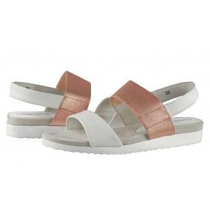 Дамски анатомични сандали от естествена кожа Caprice бели/розови