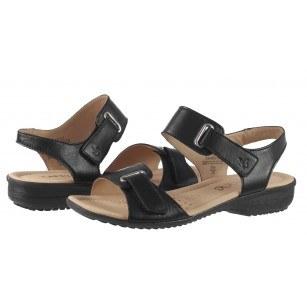 Дамски анатомични сандали от естествена кожа Caprice черни