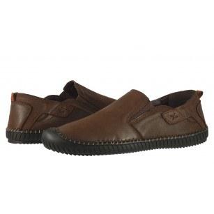 Мъжки обувки без връзки от естествена кожа Cervo Stitch кафяви
