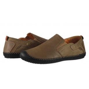 Мъжки обувки без връзки от естествена кожа Cervo светло кафяви