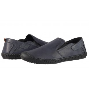 Мъжки обувки без връзки от естествена кожа Cervo Stitch сини