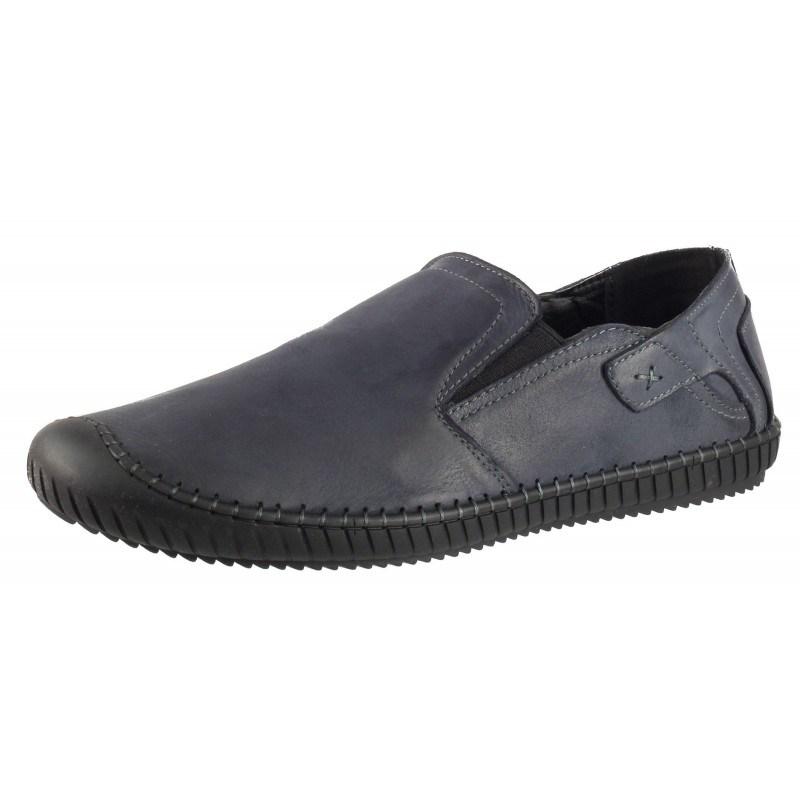 Мъжки обувки без връзки от естествена кожа Cervo сини